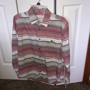 Red and grey & beige stripped Aeropostale Flannel